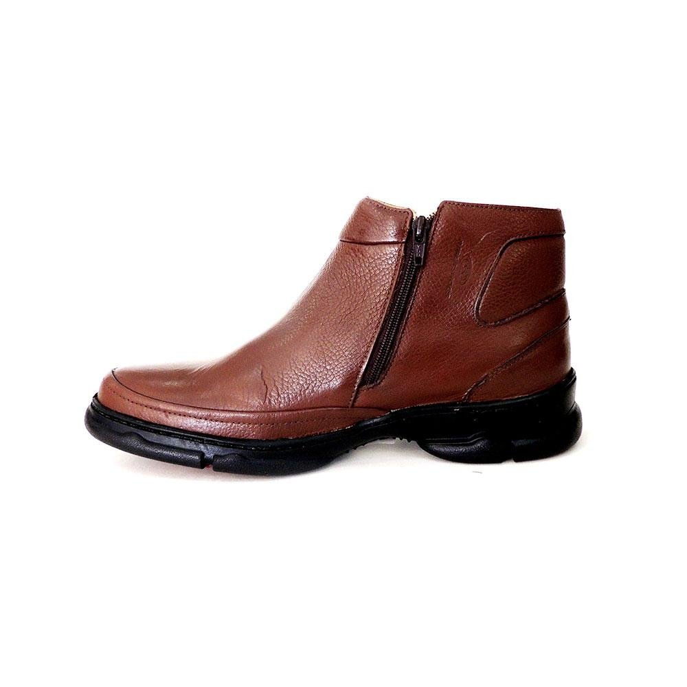 com Shoes Confort Ziper Riber Masculino Coturno Marrom Couro em xwOYHZqqP