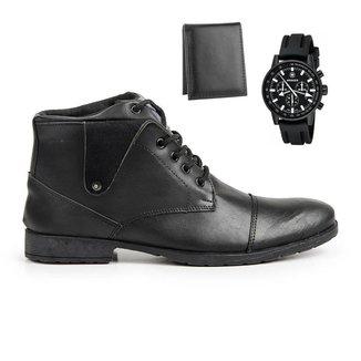 Coturno Masculino Conforto + Relógio Casual + Carteira