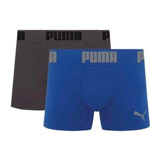 Cueca Boxer Puma Microfibra Sem Costura Kit com 2