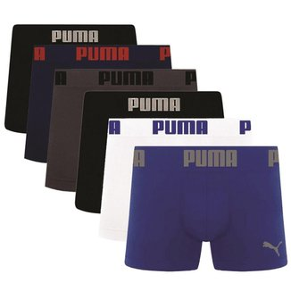 Cueca Boxer Puma Microfibra Sem Costura Kit com 6