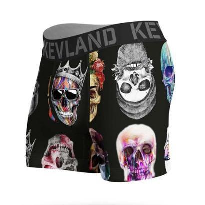 Cueca Kevland Boxer Colored Skulls Black KEV281