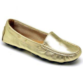 Drive Mocassim Casual Feminino Conforto Em Couro Q&A Calçados Ouro
