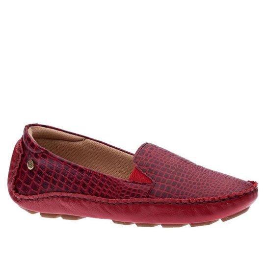 Driver Feminino em Couro Roma Vermelho/ Vermelho 1442  Doctor Shoes - Vermelho