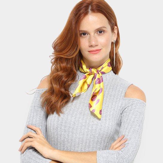 Echarpe Boca Amarelo Feminina - Amarelo