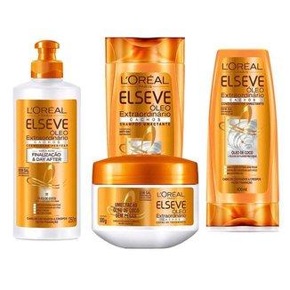 Elseve Óleo Extraordinário Cachos Kit - Shampoo + Condicionador + Creme de pentear + Tratamento Kit