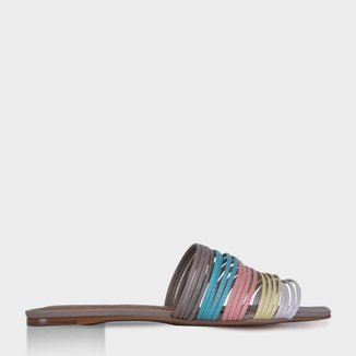 Flat Multi Strips Colors em Couro Azul - 35