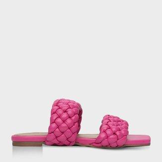 Flat Tiras Trançadas Puffy Feminino