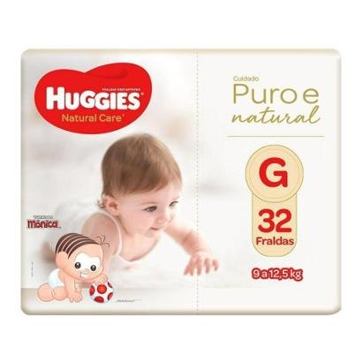 Fralda Huggies Premium Puro e Natural Noturna Tam. G 9 a 12,5Kg 32 Unidades