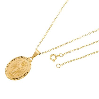 Gargantilha Medalha Anjo da Guarda Folheada a Ouro 18k