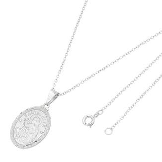 Gargantilha Medalha Santa Rita Folheado a Ródio Branco