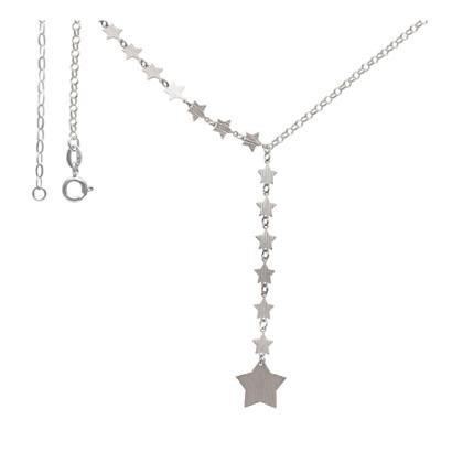 Gargantilha Prata Com 14 Estrelas Lixadas