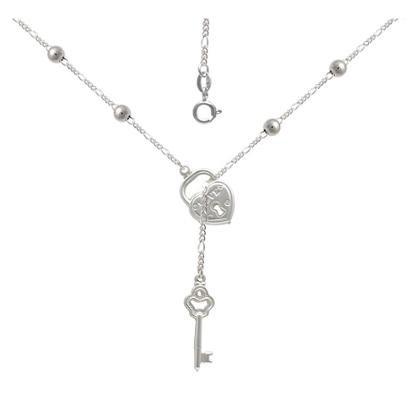 Gargantilha Prata Com 6 Bolinhas 5Mm Cadeado E Chave