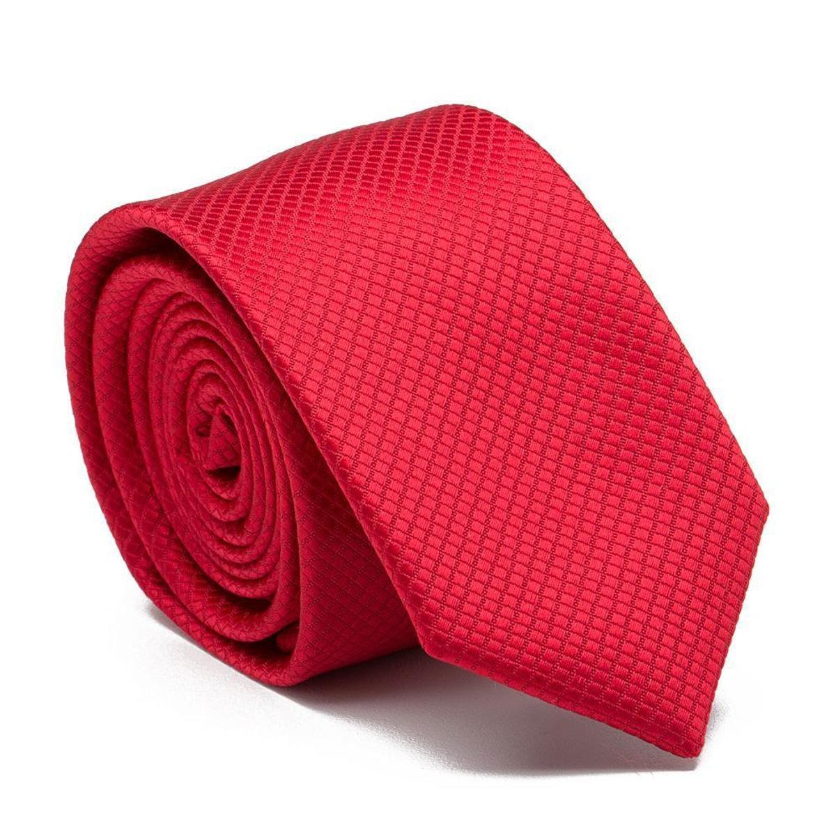 Gravata Slim Red Key - Poliéster premium