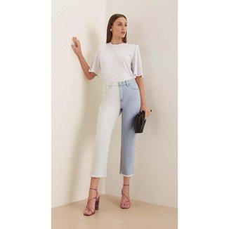 Iodice Calça Iódice Mom Cós Alto Bicolor Jeans