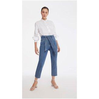 Iodice Calça Iódice Mom Cós Alto Com Faixa Jeans