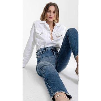 Iodice Calça Iódice Mom Cós Alto Com Puídos Jeans