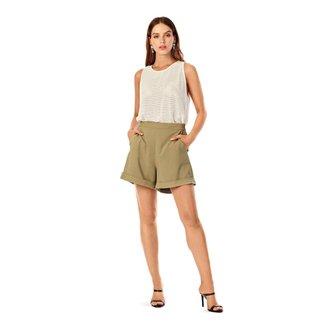 Iodice Shorts Iódice Alfaiataria Barra Dobrada Verde
