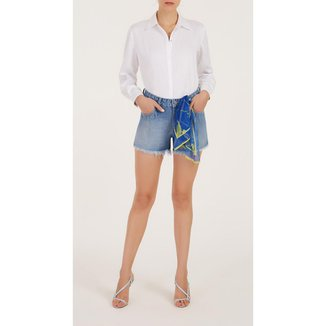 Iodice Shorts Iódice Boyfriend Com Lenço Jeans