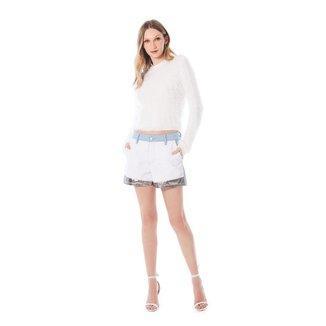 Iodice Shorts Iódice Boyfriend Composê De Tecidos Azul/Branco