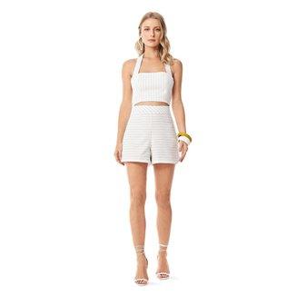 Iodice Shorts Iódice Linha A Bolso Faca Preto/Off White