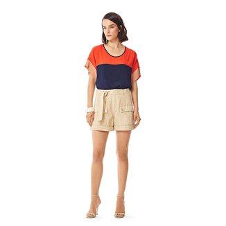 Iodice Shorts Iódice Linha A Bolso Utilitário Bege