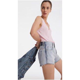 Iodice Shorts Iódice Linha A Com Desfiados Jeans