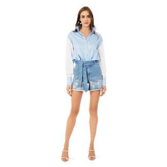 Iodice Shorts Iódice Linha A Com Faixa Jeans