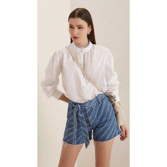 Iodice Shorts Iódice Linha A Com Laser Jeans