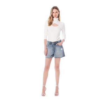 Iodice Shorts Iódice Linha A Com Puídos Jeans