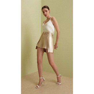 Iodice Shorts Iódice Linha A Com Sobreposição Branco/Dourado