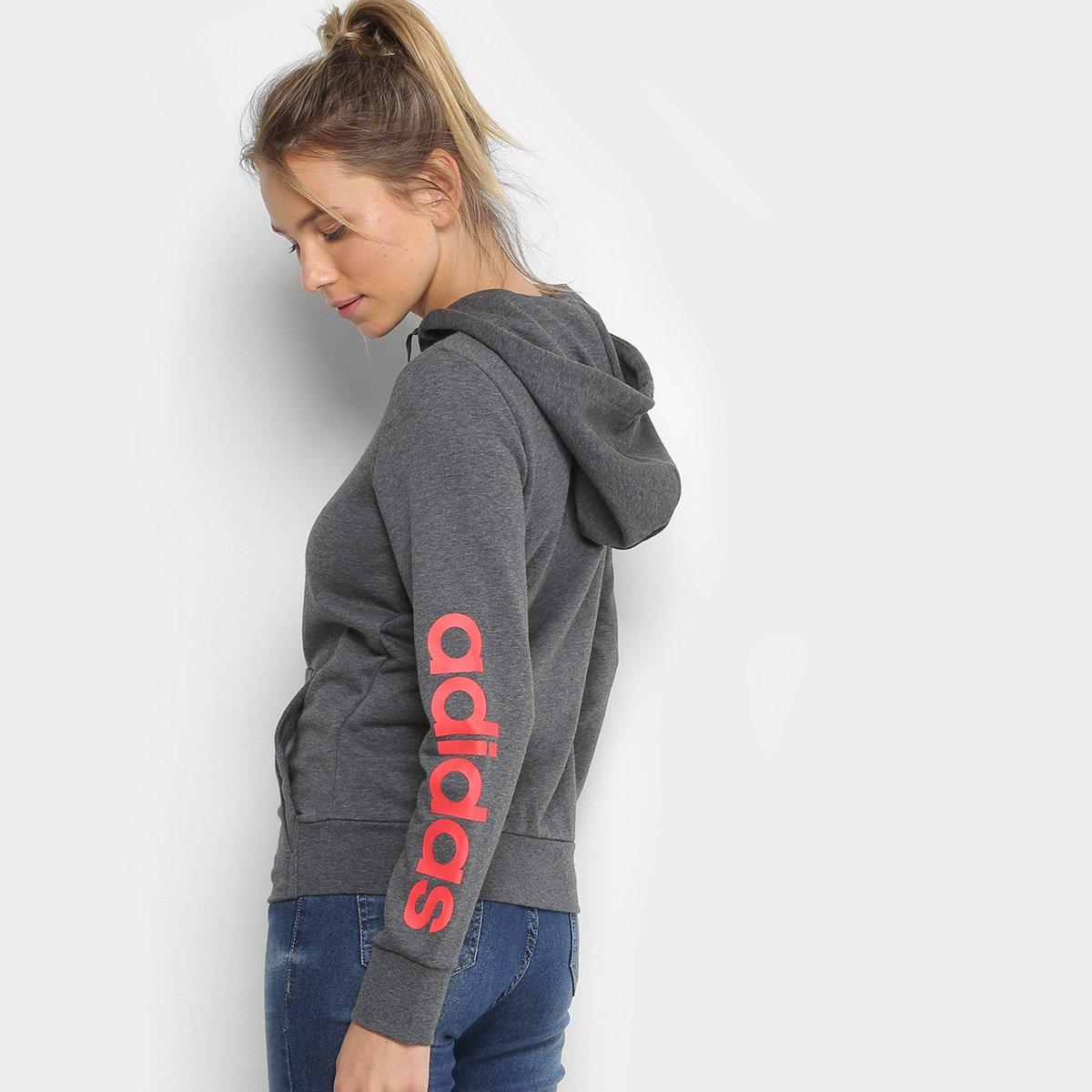 Jaqueta Adidas Ess Lin Fz Hd Estampada Feminina - Cinza - Compre ... 5a05be7421