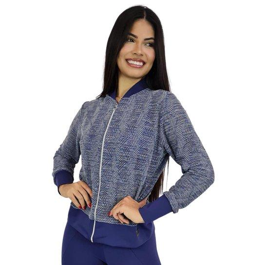 Jaqueta Bomber Feminina em Renda com Ziper Azul Marinho - Azul