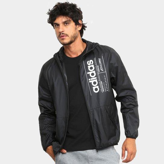 Jaqueta Corta Vento Adidas Brilliant Basics Masculina - Preto+Branco