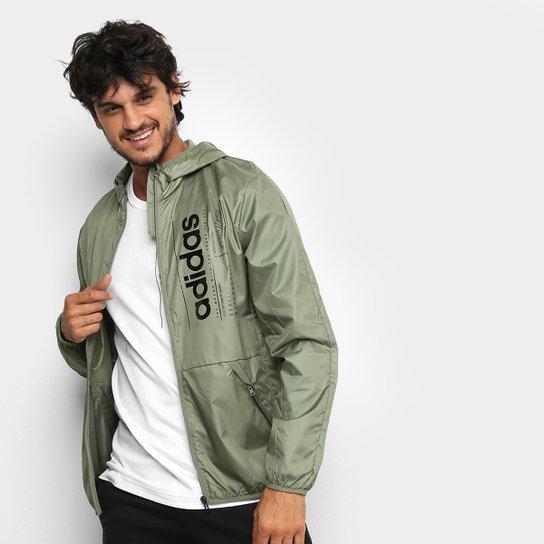 Jaqueta Corta Vento Adidas Brilliant Basics Masculina - Cinza+Preto