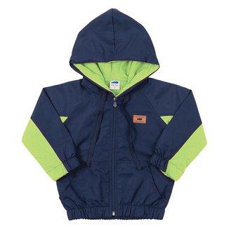 Jaqueta Corta-Vento Bebê Marlan Bicolor Com Capuz
