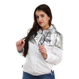 Jaqueta Corta Vento Feminina Mosaico Branca