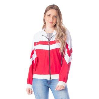 Jaqueta Corta Vento Feminina Mosaico Vermelho/Branco