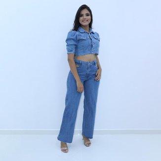Jaqueta Cropped Jeans Feminina Barra Desfiada Lançamento