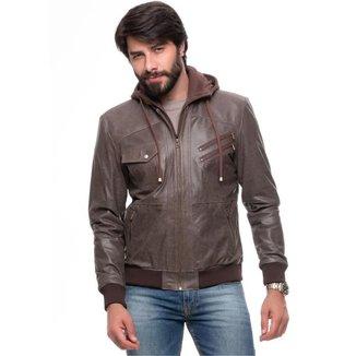 Jaqueta de Couro Com Capuz Removível Ranger Brown