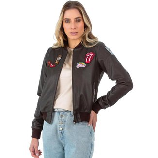 Jaqueta de Couro com Patches Ranger Brown