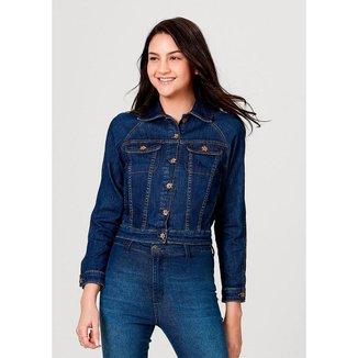 Jaqueta Em Jeans De Algodão Com Bolso Hering Feminina
