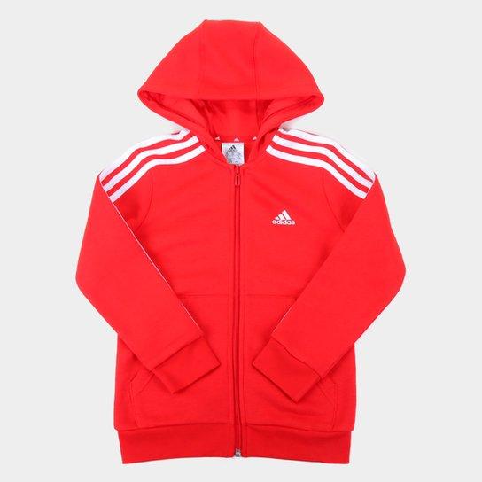 Jaqueta Infantil Adidas D2m 3S c/ Capuz Masculina - Vermelho+Branco