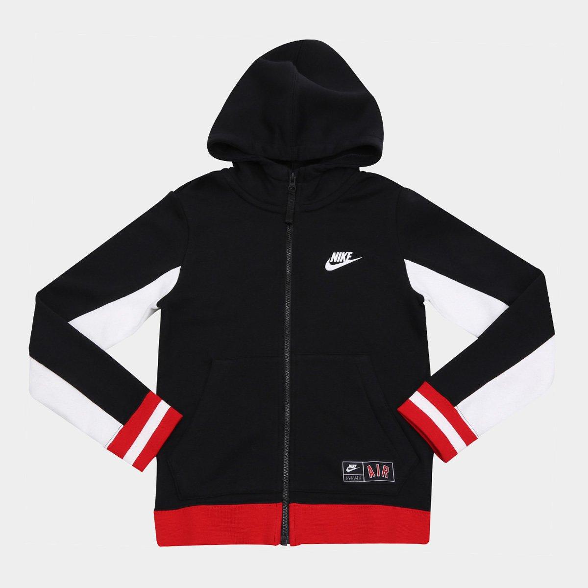 561dc1d98cf98 Jaqueta Infantil Nike B Air Hoodie Masculina - Preto e Vermelho - Compre  Agora