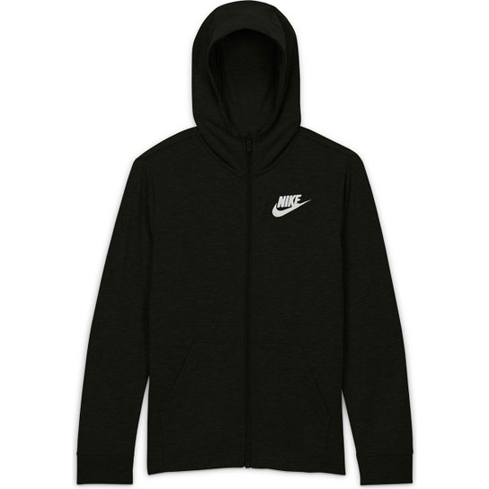 Jaqueta Infantil Nike Sportwear FZ Masculina - Preto+Branco