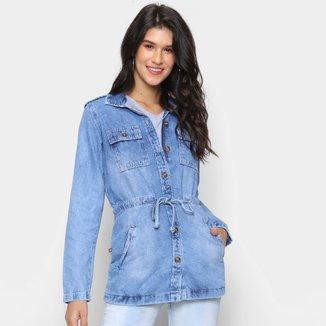 Jaqueta Jeans Cambos Alongada Amarração Feminina