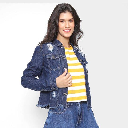 Jaqueta Jeans Cambos Barra Desfiada Feminina - Azul