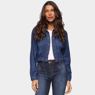 Jaqueta Jeans Cambos Com Amarração Feminina