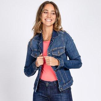 Jaqueta Jeans Celyna Clássica Azul Médio