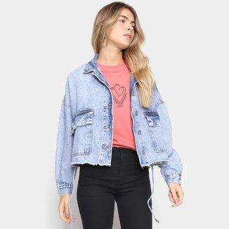 Jaqueta Jeans Cropped Colcci Lavagem Marmorizada Feminina