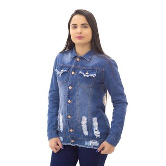 Jaqueta Jeans Destroyed Feminina Naraka